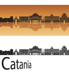 Catania skyline in orange background vector image vector image