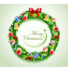 christmas wreath with gifts vector image vector image