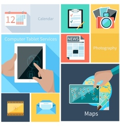 Computer tablet services web application concept vector image