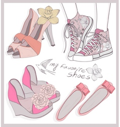 Fashion shoes set vector image vector image