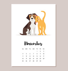 november dog 2018 year calendar vector image vector image
