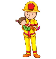 A fireman rescuing a girl vector