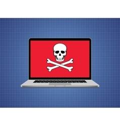 Computer hacked with skull symbol and danger alert vector