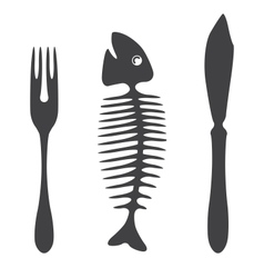 Cutlery knife fork fish - vector image vector image