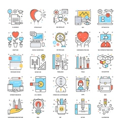 Flat Color Line Icons 13 vector image vector image