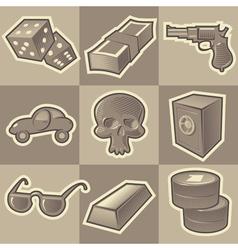 Monochrome gangsta icons vector image