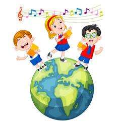 school children singing on the globe vector image