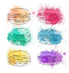 set contour drawing macaroon with colorful vector image