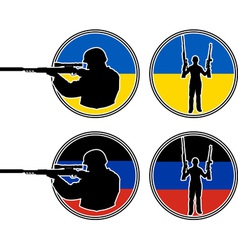 Ukrainian and pro Russian soldiers vector image vector image