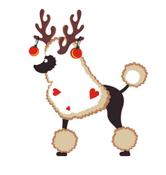 christmas card with cute dog with horns and balls vector image