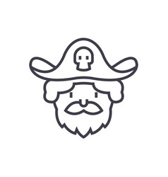 pirate line icon sign on vector image