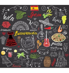 Spain doodles elements Hand drawn set with spanish vector image vector image