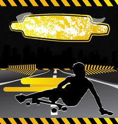 urban city composition with longboard skateboarder vector image