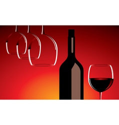 wine glasses and bottle vector image vector image