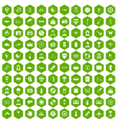 100 photo icons hexagon green vector