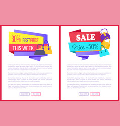 30 best price this week sale 50 off promo labels vector