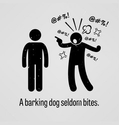 A barking dog seldom bites a motivational and vector