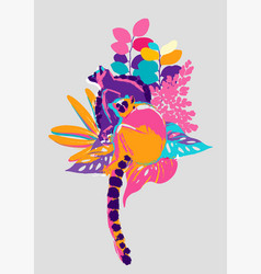Abstract design with two lemurs sitting vector