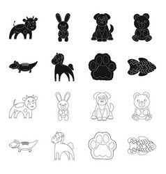 an unrealistic blackoutline animal icons in set vector image