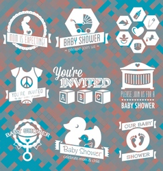 Baby Shower Invite Labels in Retro Sty vector