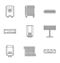 Bathroom icons set outline style vector