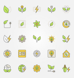 Bioenergy colorful icons vector