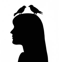 birds in the head vector image