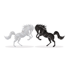 Black and white angry twin horse graphic vector