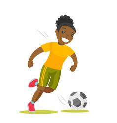 black soccer player kicking the ball vector image