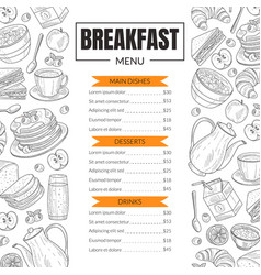 breakfast menu template design for restaurant vector image