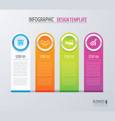 Business infographics with 4 steps number options vector