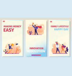 business relations success mobile app page set vector image