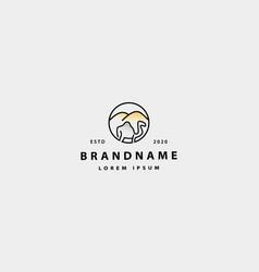 Camel monoline logo design vector