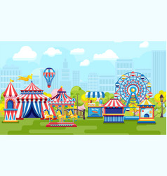 Carnival in city amusement park vector
