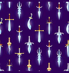cartoon magic swords seamless pattern background vector image