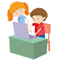 Children working on computer vector
