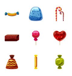 chocolate candy icons set cartoon style vector image
