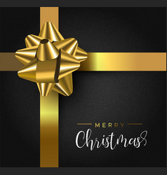 Christmas gift box greeting card with gold ribbon vector