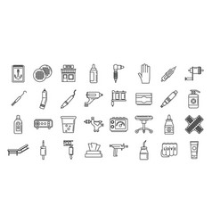 City tattoo studio icons set outline style vector