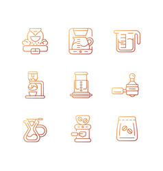 Coffee shop appliance gradient linear icons set vector