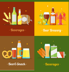 Colorful drinking beer banner card set vector