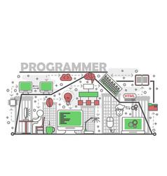 Computer programmer concept flat line art vector