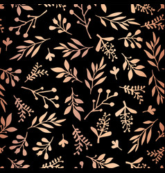 copper rose gold foil florals on black pattern vector image