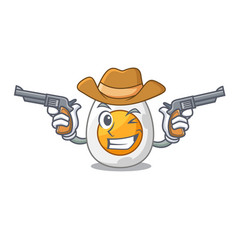 Cowboy cartoon boiled egg sliced for breakfast vector