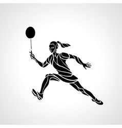 Creative silhouette abstract female badminton vector