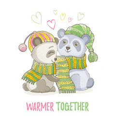 Cute christmas animal asian panda bear couple in vector