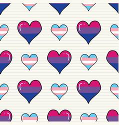cute transgender bisexual heart cartoon seamless vector image