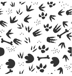dinosaur footprints seamless pattern background vector image