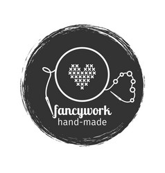 Embroidery and sewing vintage logo vector