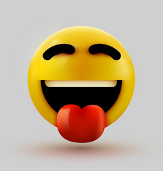 Emoji 3d smiling face with stuck-out tongue vector
